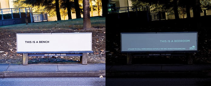 This Ad for a Homeless Shelter Turns Into a Mini Homeless Shelter