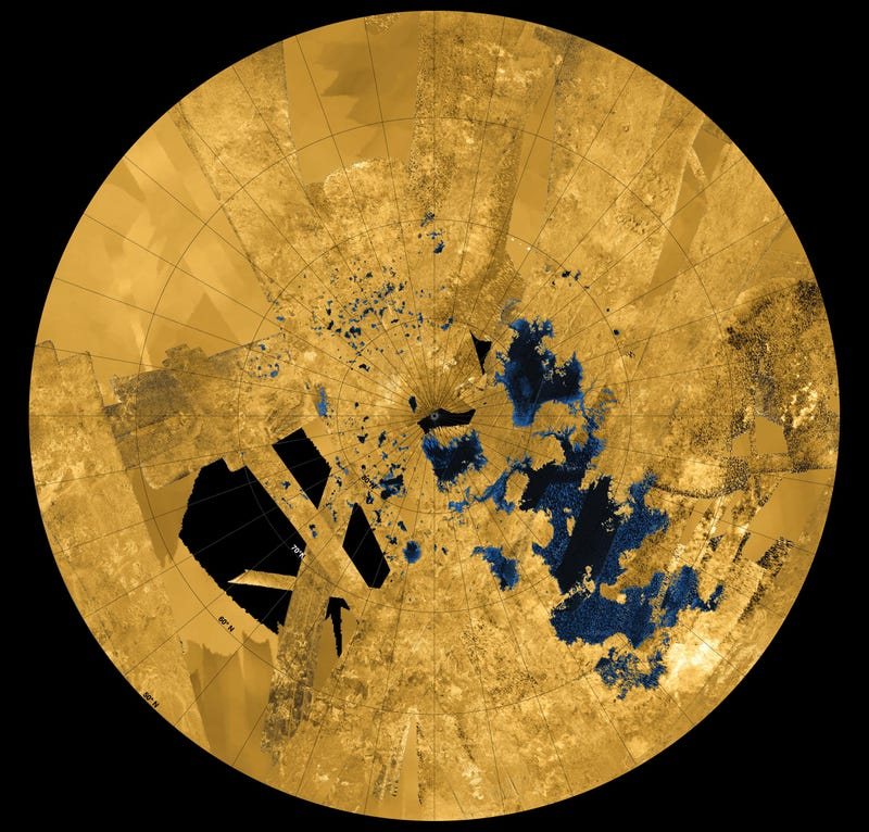 Take a trip over Titan's massive methane-filled lakes