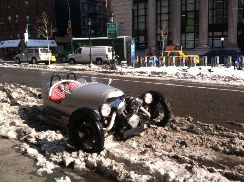 Update: Perfect car for a New York City snow day, Morgan 3 wheeler!