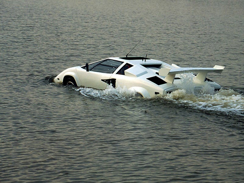 Lamborghini Countach Walks On Water, Jesus-Style