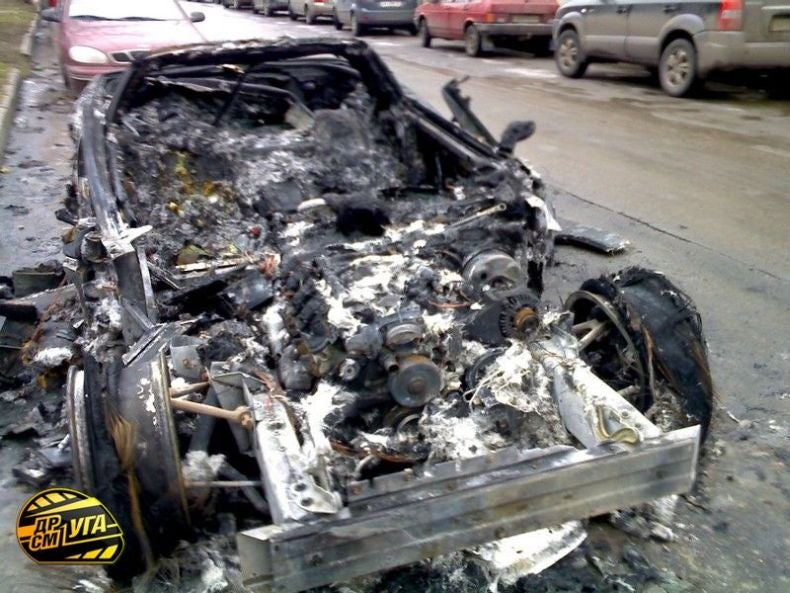Decadent American Corvette Burned By Ukrainian Proletariat