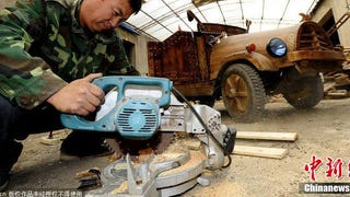 Awesome Chinese Carpenter Made His Own Electric Car Out Of Wood