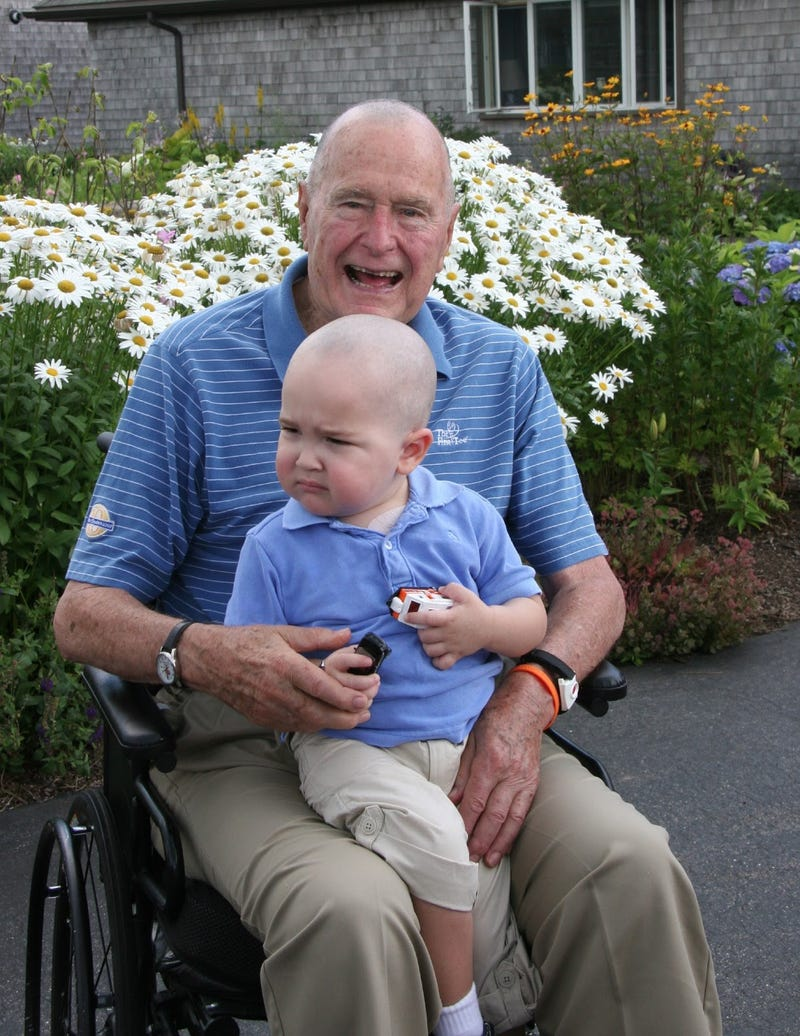 George Bush Shaves Head in Solidarity With 2-Year-Old Cancer Patient
