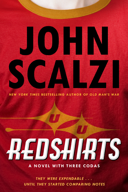 When is a cover for a novel called Redshirts too self-mocking?