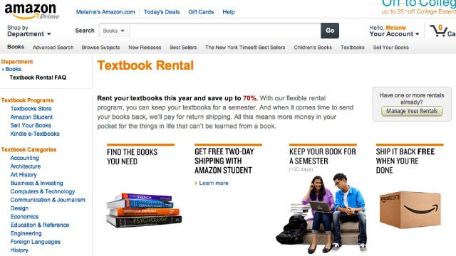 Save Up to 70% on Textbooks with Amazon's Textbook Rental Service