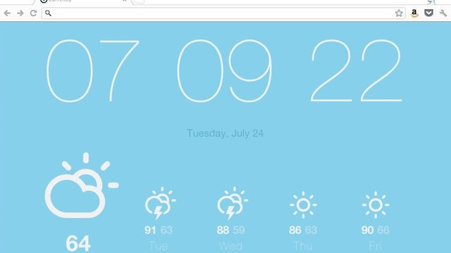 Currently Replaces Chrome's New Tab Page with a Minimalist Weather and Time Display