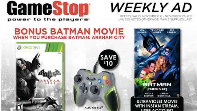 GameStop's Ultraviolet Anti-Incentive: Buy a Great Batman Game, Stream a Crappy Batman Movie For Free