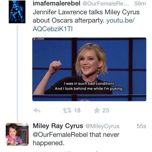 Miley Cyrus Reportedly Calls Jennifer Lawrence A Liar
