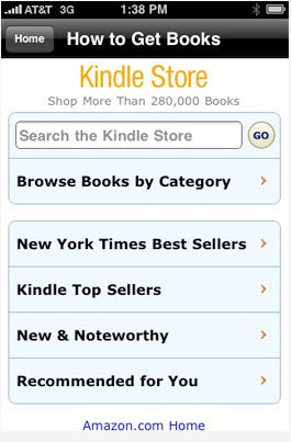Amazon Optimizes Kindle Store for iPhone Browsers