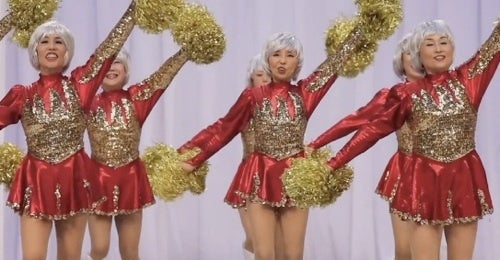 Elderly Japanese Women Form Cheerleading Squad
