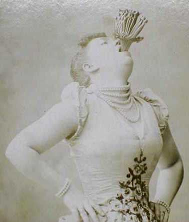 Awesome portraits of female sword swallowers in the 1800s