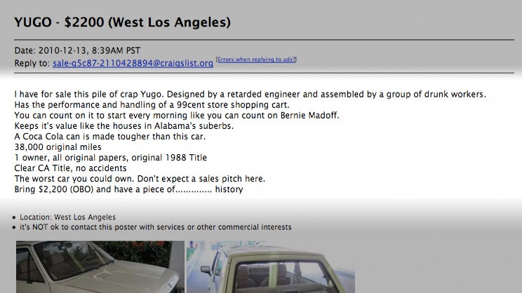 One Really Honest Craigslist Ad