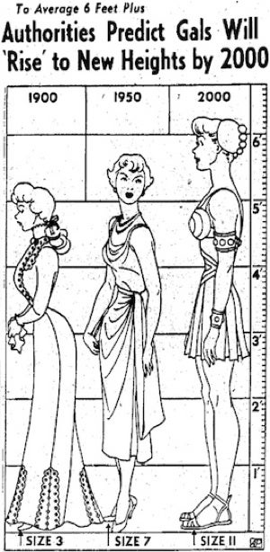 According to 1950s futurists, women of the year 2000 would be giantesses