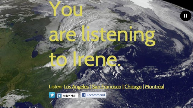 Irene Emergency Radio Tracker Site Set to Ambient Music Is Helpful, Creepy