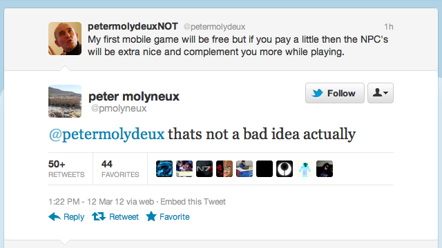 Peter Molyneux And His Parody Twitter Account Need To Team Up
