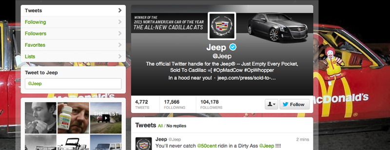 The Jeep Twitter Feed Has Been Hacked by the Same People Who Hacked Burger King Yesterday