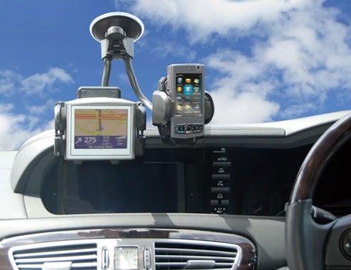 Dual Gooseneck Sat-Nav and Cellphone Holder: One Big Blind Spot