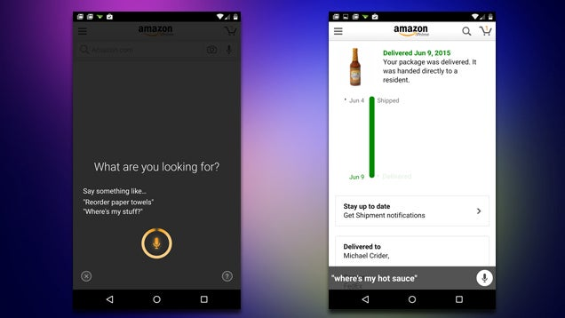 "Amazon for Android Now Supports Voice Commands Like ""Where's My Stuff"""
