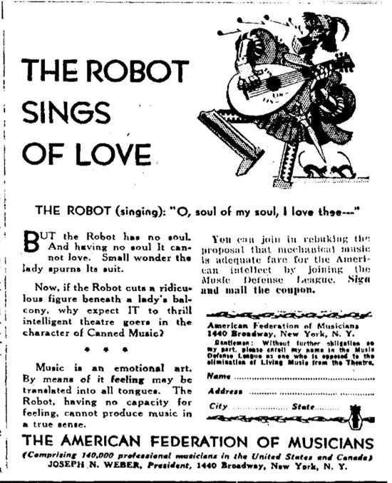 In the 1930s, robots were killing the music industry