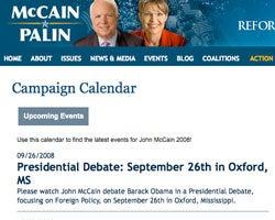 McCain campaign site still promises debate