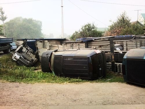 Crashed Land Rovers