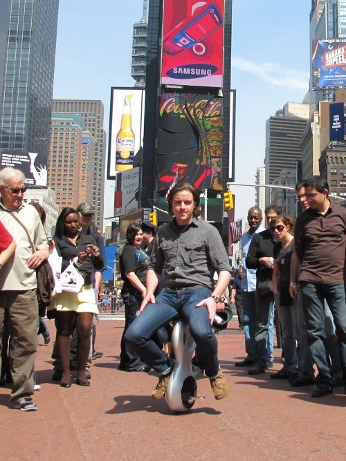 Riding Honda's Cybernetic Unicycle In Times Square