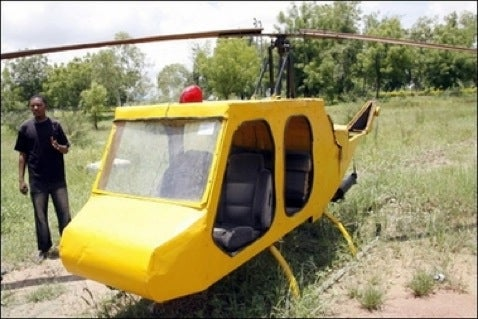 Nigerian Man Builds Working Helicopters from Junk