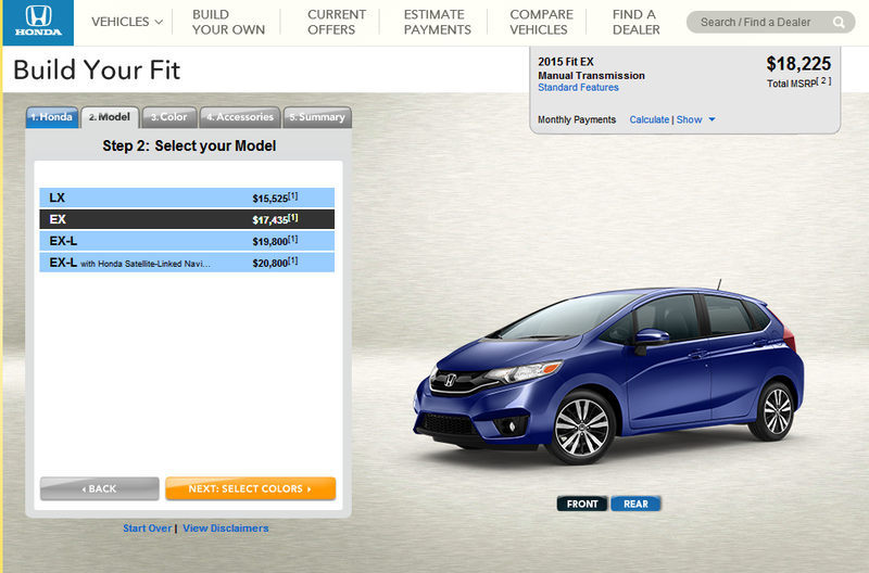 Finally! The 2015 Honda Fit Configurator is Live