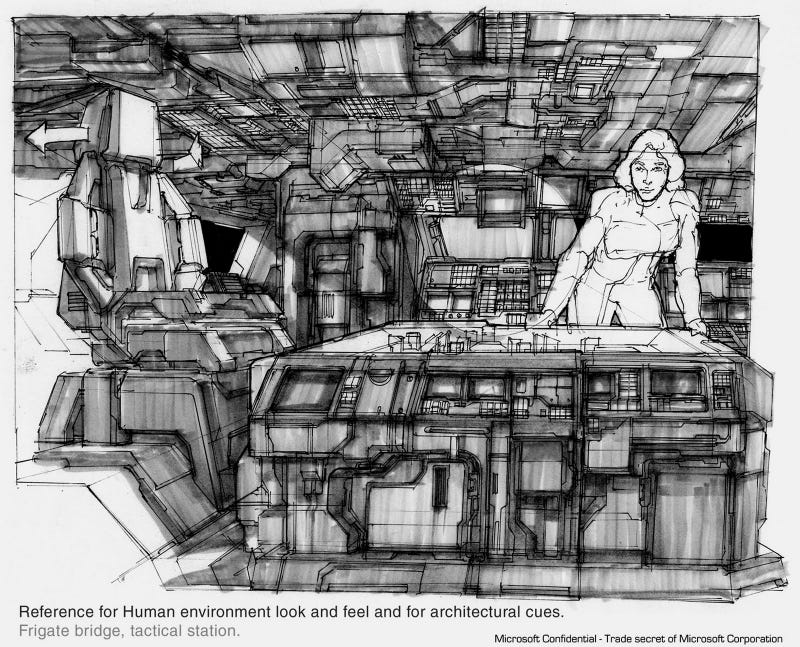 This Halo Concept Art is so Old it's Drawn on Paper