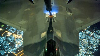 Cool photos of the F-22 refueling at night on its way to Syria