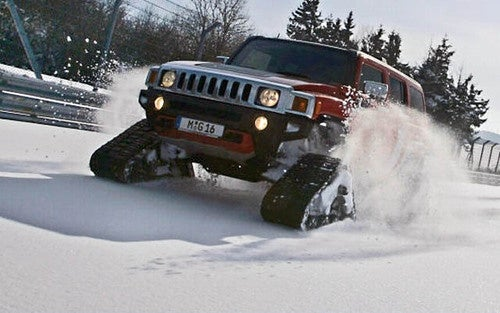 Hummer H3 + Tracks + Snow-Covered Nurburgring = Heroic Win