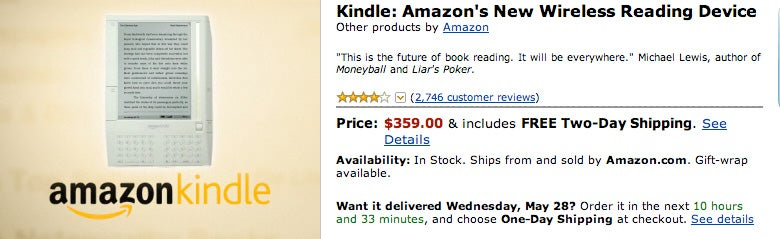 Amazon Kindle Price Reduced to $359, Now Back In Stock