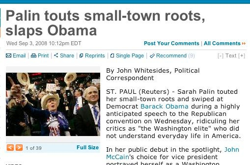 """Reuters """"Reports"""" Sarah Palin's Speech Before She Gives It"""