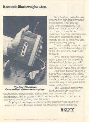 Great Sony Walkman TV and Print Ads of the 1980s
