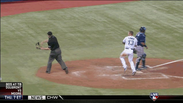 """A Commemorative GIF Of Brett Lawrie's """"Unlucky"""" Helmet Spike That Hit Umpire Bill Miller And Earned Him A Four-Game Suspension"""