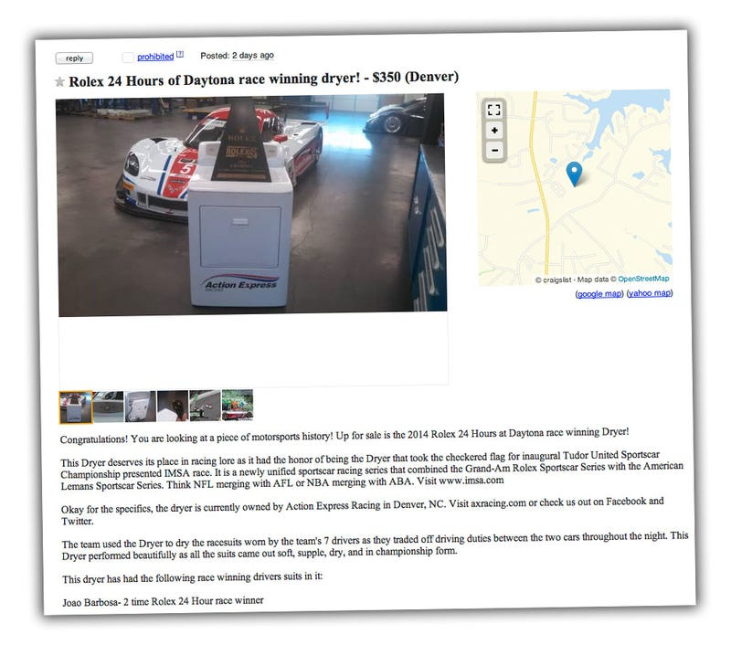 You Can Own The Dryer That Helped Win The 24 Hours Of Daytona!