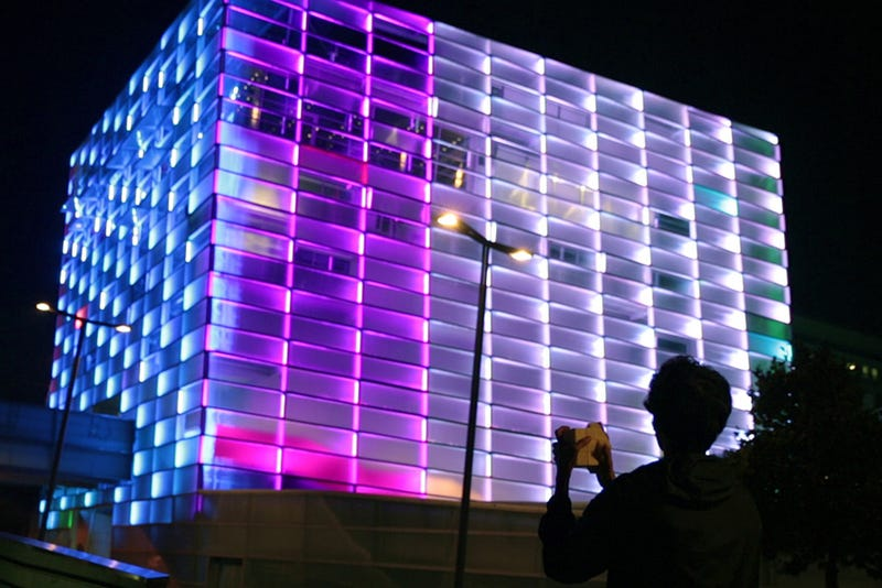 Watch an entire building transform into a playable Rubik's Cube