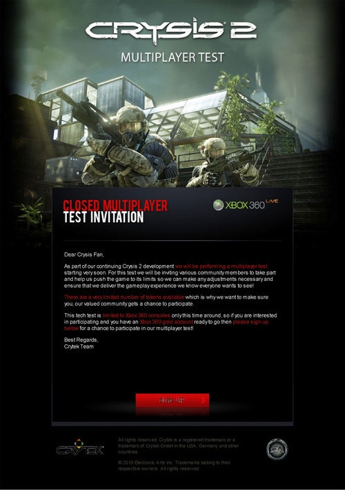 The First Round Of Crysis 2 Multiplayer Testing Is Xbox Only