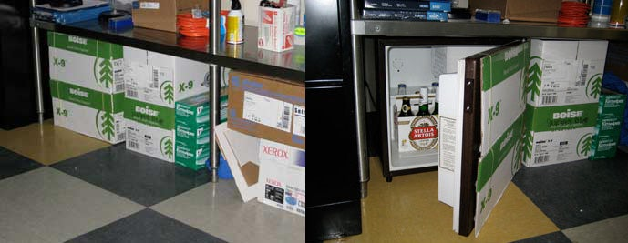 Camouflaged Fridge Chills, Hides Beer at the Office