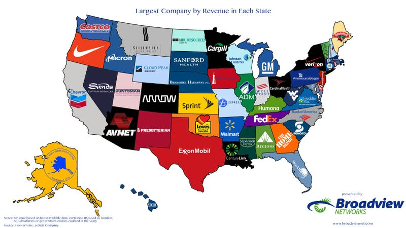 What the biggest companies are from each state in the US