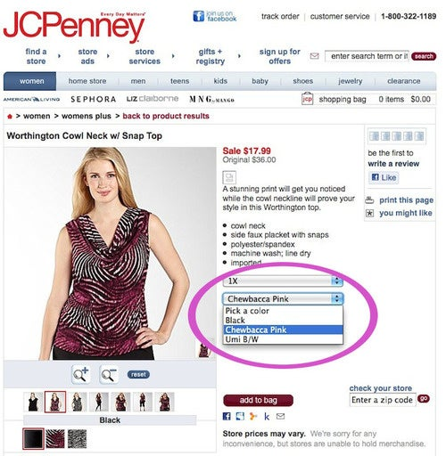 "JCPenney Invents Bold New Color: ""Chewbacca Pink"""