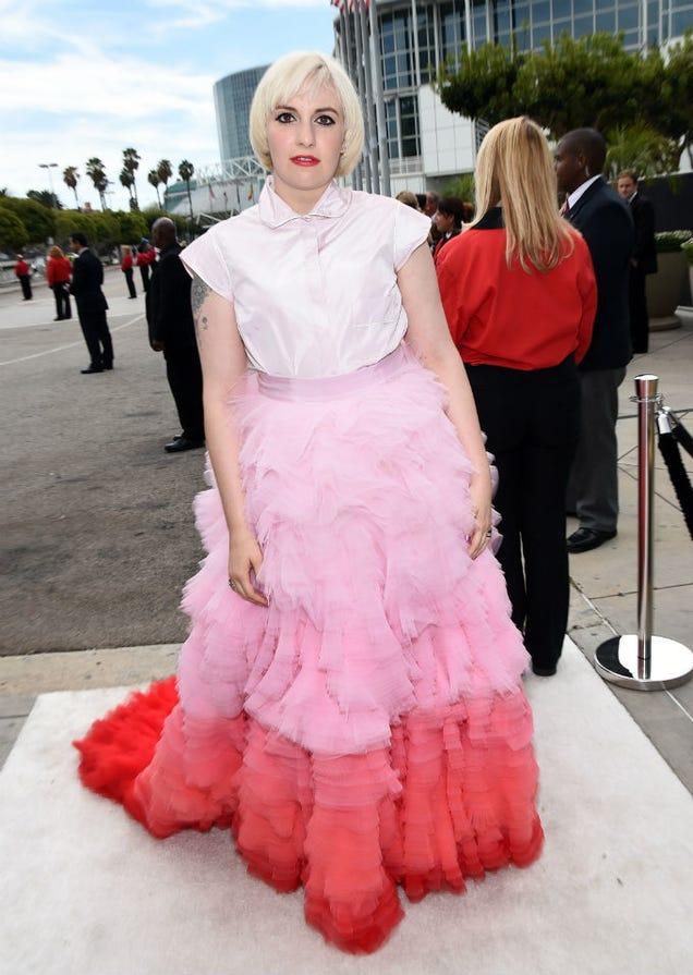 Lena Dunham ugly emmy dress