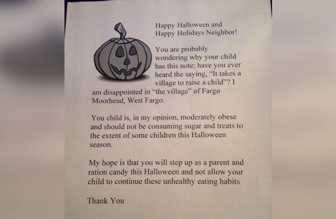 Bad Neighbor Will Hand Out Shaming Letters to Chubby Kids on Halloween