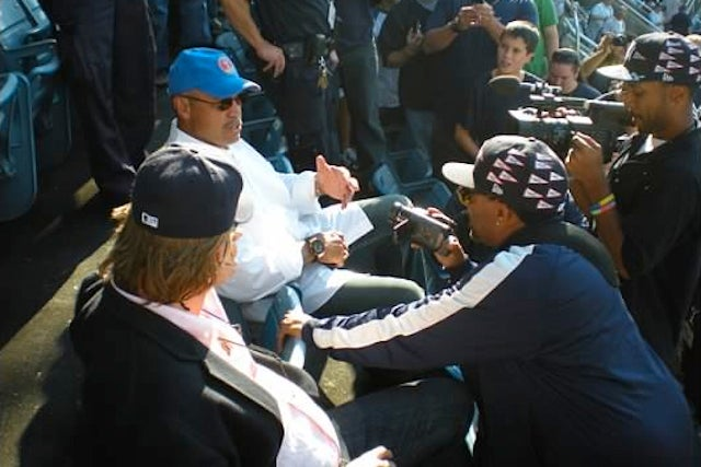 The Best Picture I Ever Took At A Sporting Event: Spike Lee, Reggie Jackson And Val Kilmer Chat In (Old) Yankee Stadium