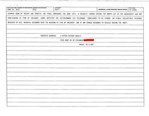 Robbed Audi Police Report