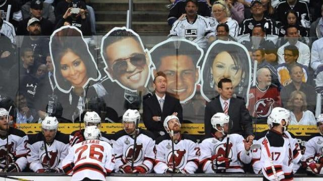 The L.A. Kings Taunted The Devils With Giant Jersey Shore Cutouts Yesterday