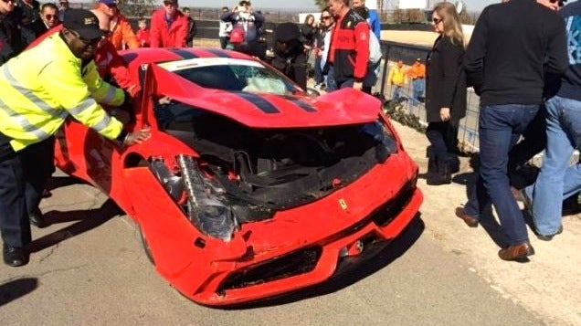 Prepare To Wince As This Ferrari 458 Speciale Meets The Wall