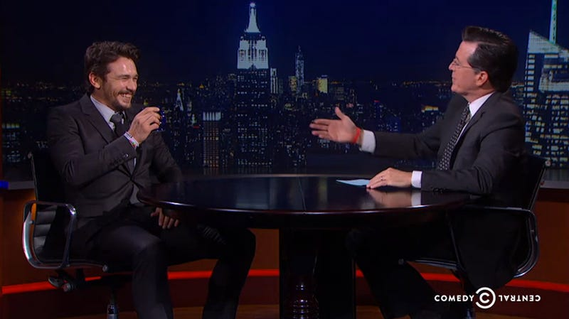 James Franco Tries to Make Colbert Break Character, Fails Miserably