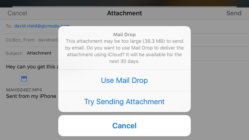 How to Email Huge Files From Your iPhone With iOS 9.2