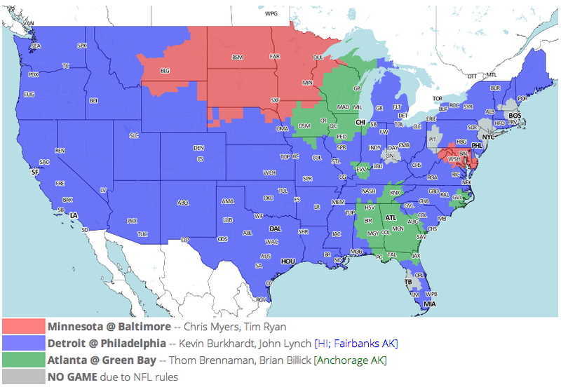 Which TV Market's Getting Screwed Today? Your Week 14 NFL Viewing Maps